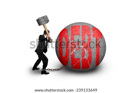 businessman holding hammer hitting cracked DEBT ball isolated on white background - stock photo