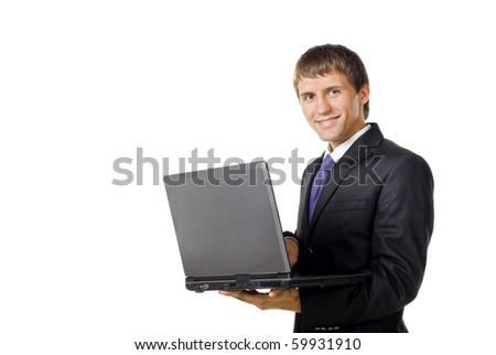 Businessman holding his laptop. isolated on white