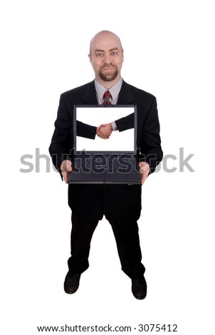 Businessman holding his laptop with a handshake on the screen isolated over white with a clipping path - stock photo