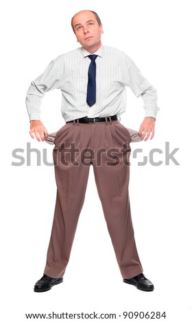 Businessman holding his two empty pockets. Bankruptcy concept. - stock photo
