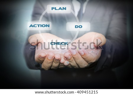 Businessman holding  icon with plan - do - check - action process on the screen. business concept.