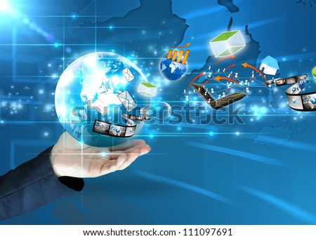 businessman holding ideas around the world social media