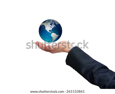 Businessman holding in his hand earth globe. White- Stock Photo