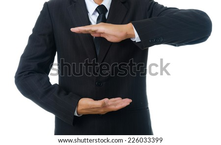 Businessman holding isolated on the whiteboard, Selective focus on the hand. - stock photo