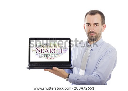 Businessman holding Laptop with Searching concept - with isolated background - stock photo