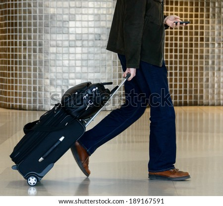 Businessman holding luggage and using mobile phone - stock photo
