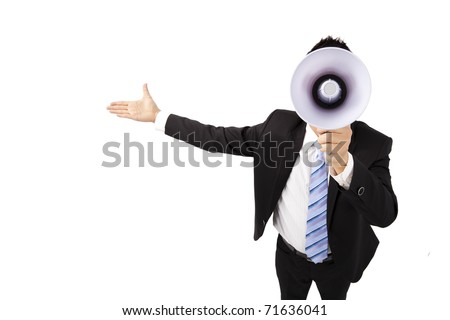 Businessman holding megaphone make loud noise - stock photo