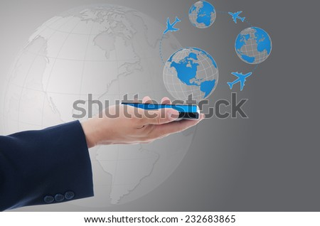 Businessman Holding mobile phone with world map globe, Transport and Technology Concept. - stock photo