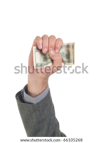 Businessman holding money against white background - stock photo