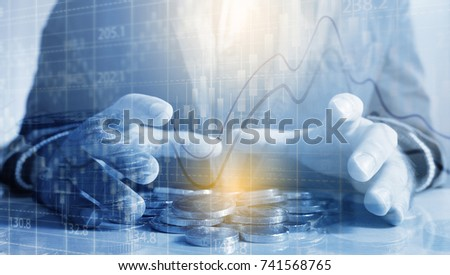 Businessman holding money coins. Business Growth concept.