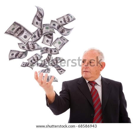 businessman holding money with his hand (isolated on white) - stock photo