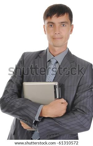 Businessman holding notebook. Isolated on white background - stock photo