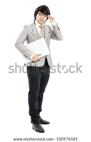 businessman holding on his computer - stock photo