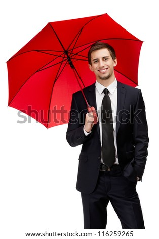 Businessman holding opened red umbrella overhead, isolated on white - stock photo