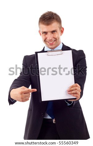 Businessman holding or showing a clipboard , isolated on white