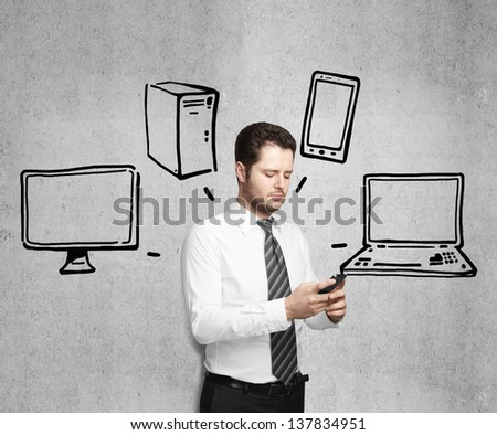 businessman holding phone and drawing cloud computing diagram - stock photo