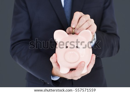 Businessman Holding Piggy Bank Finance Savings