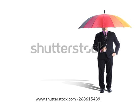 Businessman holding rainbow umbrella with White backgrouind