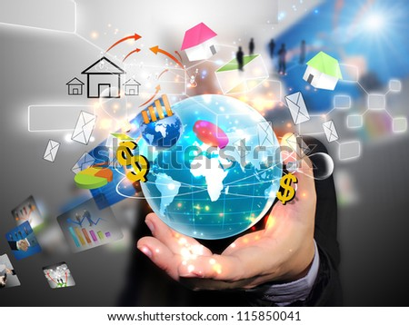 Businessman holding social media , connected - stock photo