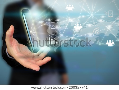 businessman holding social network concept.  - stock photo