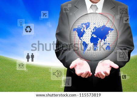 Businessman holding social network with connection - stock photo
