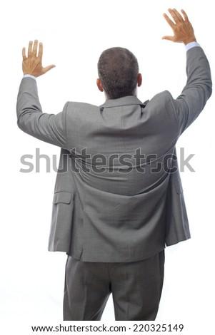 businessman holding something - stock photo