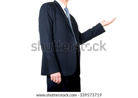 Businessman holding something invisible on hand.