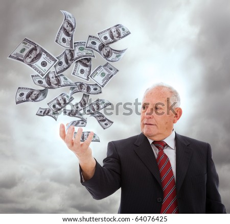 businessman holding something with his hand (isolated on white)