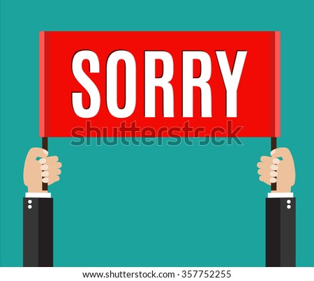 Businessman holding sorry sign - stock photo