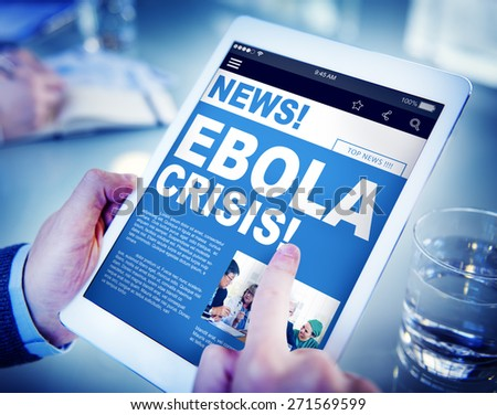 Businessman Holding Tablet Ebola News Concept - stock photo