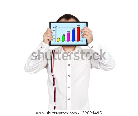 businessman holding tablet with business chart - stock photo