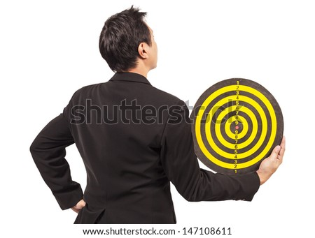 businessman holding target behind on white - stock photo