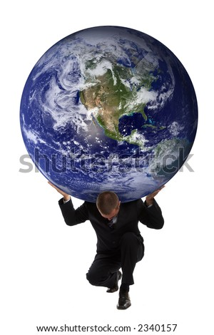 Businessman holding the earth globe on his shoulders - Greek mythology - Atlas - stock photo