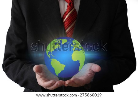 Businessman Holding The Globe - Futuristic Concept adding a Powerful Aura to Your Design