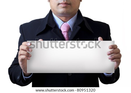 Businessman holding the message board - stock photo