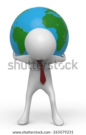 businessman holding the world front view - stock photo