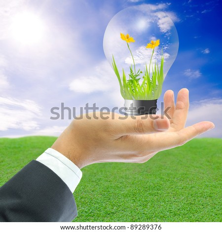 Businessman holding the yellow flower with grass growing inside the light blub on bule sky and grass background. - stock photo
