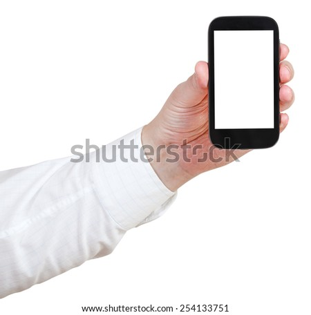 businessman holding touchscreen phone with cut out screen phone isolated on white background - stock photo