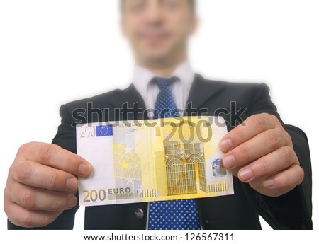 Businessman holding two hundred euros bill isolated on white background - stock photo
