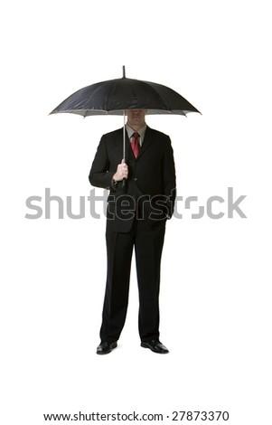 Businessman holding umbrella - stock photo