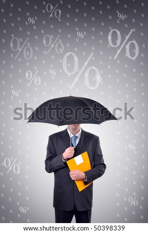 Businessman holding umbrella, illustrated rain made of percentage symbols. Share profit concept.
