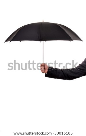 Businessman holding umbrella protecting from the rain. Business insurance concept. - stock photo