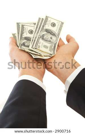 businessman holding US dollars on white background