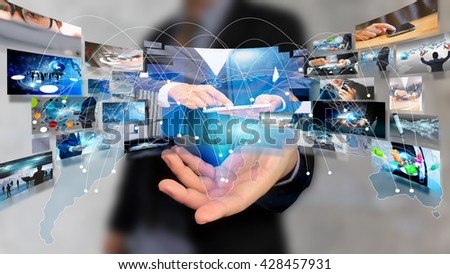 businessman holding virtual screen. business and networking concept.