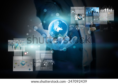 businessman holding virtual screen.business concept - stock photo