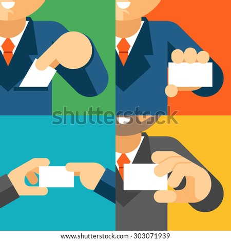 Businessman holding visiting card template in his hand. Business professional, paper message - stock photo