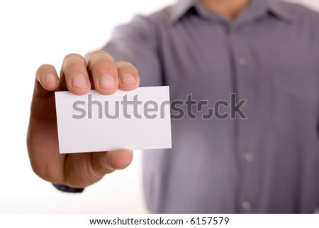 businessman holding white business card - stock photo