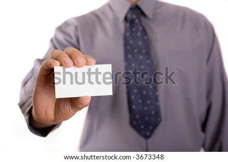 Businessman holding white card, copy space included - stock photo