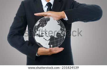 Businessman Holding World Map Globe for Business and Technology concept. - stock photo