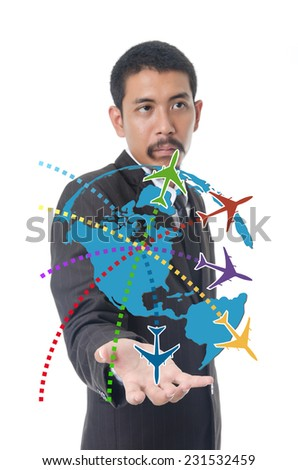Businessman Holding World Map Globe for Business and Technology concept. with airplane and globe. - stock photo